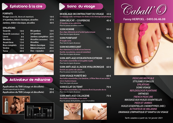 Tarif Caball'O Institut Page 1 2021